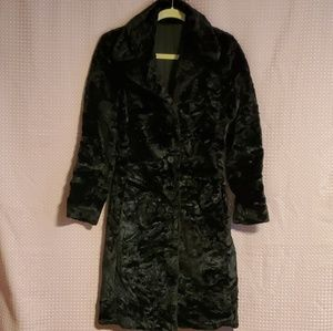 Charlotte Russe black faux fur trench coat size S